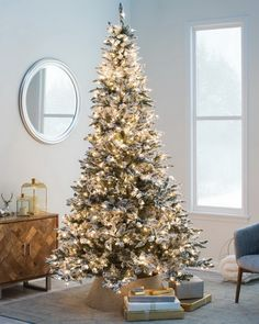 Flocked Blue Ridge Spruce Christmas Tree with Instant Glow Power Pole by Sterling Tree Company by Sterling Tree Company