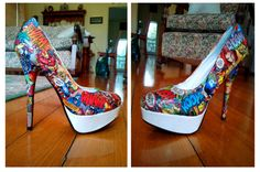 Personalized Comic Book Heels Prospect Prospect Area image 1 Comic Book Shoes, Comic Books, Graduation Shoes, Walk In My Shoes, Crazy Shoes, Pumps, Heels, Walking, Stockings