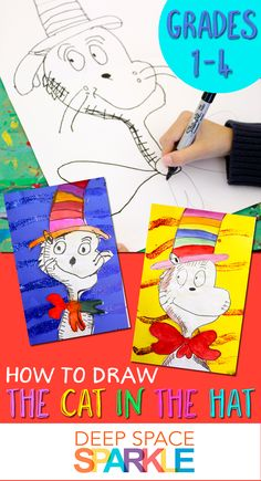 Learn how to draw The Cat in the Hat: free drawing handout for kids from Deep Space Sparkle