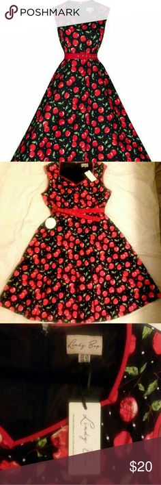 Rockabilly Lindy Bop Cherry Dress Dress fits US size 12, 42 inches long from shoulder to hem. 97% cotton, 3% elastane. Machine washable, do not tumble dry. Great dress for holiday parties! Lindy Bop Dresses Midi