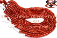Carnelian Faceted Roundel (Quality C) Shape: Roundel Smooth Length: 36 cm Weight Approx: 15 to 17 Grms. Size Approx: 4.50 to 6.50 mm Price $7.50 Each Strand