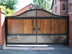 Ideas for garden modern entrance architecture Front Gate Design, Main Gate Design, House Gate Design, Door Gate Design, Fence Design, Wooden Gate Designs, Wooden Gates, Metal Garden Gates, Modern Entrance