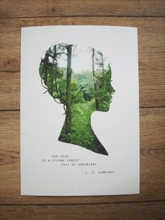 Girl Silhouette Print Her Head Is A Living Forest by Brightmore, £18.00