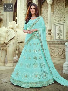 Rs7,000.00 Lehenga Choli, Georgette Fabric, Sequins, Party Wear Lehenga, Saree Shopping, Latest Sarees, Indian Wedding Outfits, Wedding Designs, Lace Border
