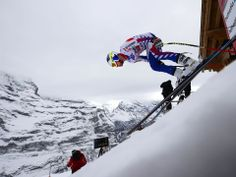 France's Alexis Pinturault takes the start of the men's World Cup downhill training in Wengen, Switzerland.