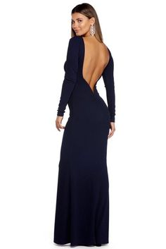 Carolina Navy Plunging Open Back Dress | WindsorCloud