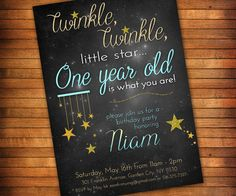 GET IN LESS THAN 24HRS: This listing includes a 4 x 6 or 5 x 7 Twinkle Twinkle Little Star invitation for a first birthday party as a DIGITAL FILE.  A sweet 1st birthday theme based on the classic lullaby. Features blue and gold with glitter stars -- works for boys and girls! And for the astronomy lovers, the background image is the Pleiades, aka The Seven Sisters. (Please let me know if its for a party other than 1st birthday and I can change the wording)  No physical item will be sent…