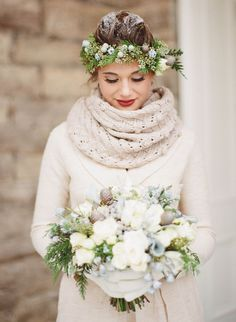 This is so different we had to share.  Cozy Winter Bride | photography by http://jacquelynnphoto.com/
