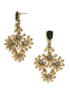 Delicate flowers in pretty golden yellow make a whimsical statement in a lacy drop earring silhouette.