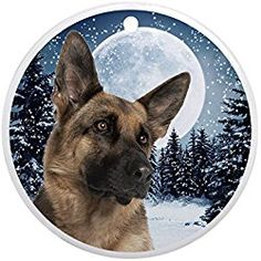 German Shepherd - Round Holiday Christmas Ornament