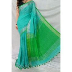 Linen sarees with zari border and running blouse-turquoise blue 2 Inspirational Celebrities, Cotton Thread, New Product, Sarees, Ruffles, India, Turquoise, Running, Formal Dresses