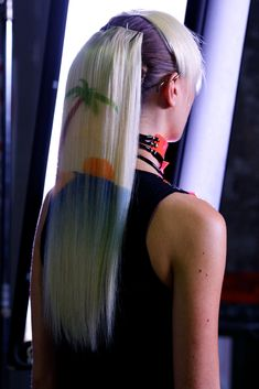 Stencilled hair extensions! Backstage with ghd at Emma Mulholland at Australian Fashion Week - stencilled hair created by Alan White #fashion #hair