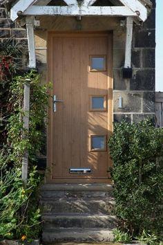 4 Square Glazed Composite Front Door in Oak   Composite Doors ...