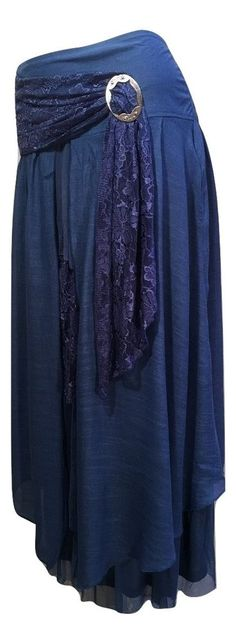 Pretty Angel Size XL Royal Blue Boho Skirt Lined Ruffles Antique Buckle 27114  #PrettyAngel #PeasantBoho