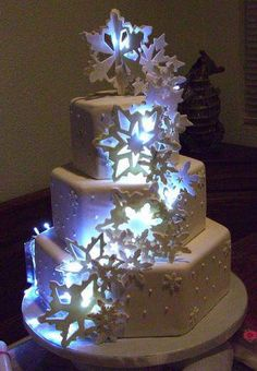 Wedding Cake with LED Lights great for evening wedding resceptions