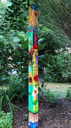 6ft Solid wood Bright and Fun Peace Post, hand-painted