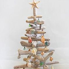 Driftwood Christmas tree with seashell ornaments