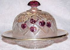 Antique Northwood Glass Cherry Lattice Ruby Stain Domed Butter Dish 1890-1907  $26.99