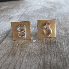 Swank Letter S Monogrammed Two Tone Cuff Links by DresdenCreations