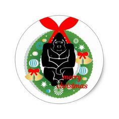 merry christmas gorilla classic round sticker - christmas stickers xmas eve custom holiday merry christmas