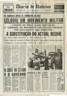 noticias de jornais Portugal - 1974 History Of Portugal, Newspaper Archives, Good Old Times, History Class, Portuguese, Old Photos, Revolution, Nostalgia, Spain