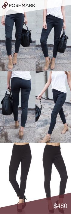🎁COMING SOON🎁 Black Moto Jegging w/ Ankle Zipper Comfortable black moto jeggings feature ankle zipper and thick elastic waistband. Each pair has a slightly different color wash. 60% cotton 35% nylon 5% spandex Price is firm unless bundled. No trading. Available for pre-order $48 Jeans