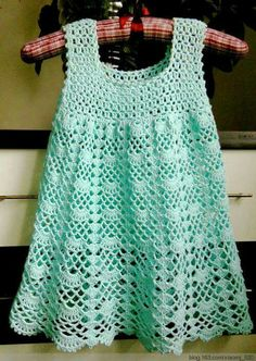Crochet For Children: Beautiful Lacy Dress - Free pattern I LIKE the top of this---idea for yoke of blouse---videos on stitches---helpful info! Crochet Baby Dress Pattern, Crochet Lace Dress, Crochet Baby Clothes, Crochet Patterns, Crochet Diagram, Knitting Patterns, Sewing Patterns, Dress Patterns, Diagram Chart