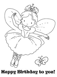 FAIRY COLORING PAGE - Nice to add to a greeting card for a child's birthday.