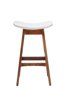 Replica Johannes Andersen Allegra Stool 66cm - White Leather and Walnut -- Designed by Johannes Andersen in 1961, the replica Allegra bar stool is a triumph in organic design with its natural timber frame and comfortable leather seat. Its simplicity makes it a popular choice when decorating your home or entertaining area.  Made from solid ash which has been stained walnut, its seat is upholstered in black or white genuine Italian leather with cushioning and shape built for comfort.  Its ...