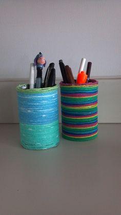 yarn wrapped pen holders