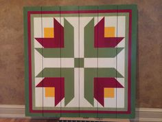 Red Flowers barn quilt