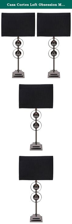 Casa Cortes Loft Obsession Metal Table Lamps (Set of 2) - Black. This fabulous Casa Cortes Table Lamp features a metal double sphere design for a stunning look. The square base comes in a lustrous black finish. A crisp black fabric drum shade tops this stylish lamp.