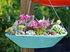 50 Unique & Modern DIY Outdoor Hanging Planter Ideas For Your Garden Saucer Style Succulent Hanging Planter Succulent Hanging Planter, Hanging Plants Outdoor, Diy Planters Outdoor, Metal Hanging Planters, Planter Ideas, Succulent Outdoor, Hanging Gardens, Plants Indoor, Succulent Landscaping