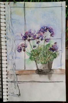 Donna's sketchbook watercolors : geraniums in window
