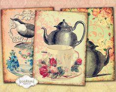 TEA TIME - Instant Download Digital Collage Sheet Digital Cards Bookmark Scrapbook Paper Decoupage Paper
