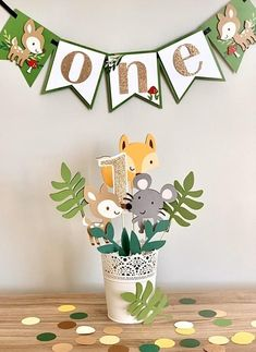 Woodland ONE Banner – ONE baby animals banner – ONE floral banner – Floral Banner – Baby Fox banner – Pink and gold glitter banner – Frida K - Baby Animals Jungle Theme Birthday, Wild One Birthday Party, Baby Boy 1st Birthday, First Birthday Parties, Birthday Party Themes, First Birthdays, Baby Banners, Happy Birthday Banners, Birthday Decorations