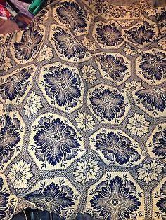 Blue & white wool over linen overshot coverlet