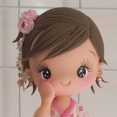 No photo description available. Polymer Clay Fairy, Cute Polymer Clay, Polymer Clay Crafts, Clay Clay, Fondant Hair, Housewarming Cake, Chibi Eyes, Wafer Paper Flowers, Crochet Towel