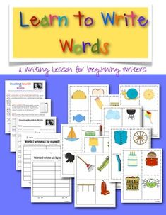 Learn to Write Words, Writing Lesson for Beginning Writers.  $