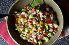 mama canales-garcia's avocado-shrimp salsa (smitten kitchen) Fish Recipes, Seafood Recipes, Mexican Food Recipes, Appetizer Recipes, New Recipes, Cooking Recipes, Favorite Recipes, Healthy Recipes, Ethnic Recipes