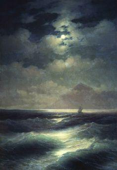 """Ivan Aivazovsky, Vista del Mare al chiaro di luna , (1878) - Grazie a """"I 1000 quadri più belli di tutti i tempi"""" (pagina Facebook)"""