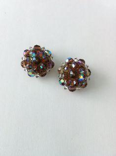 Vintage Plastic Aurora Borealis Earrings Clip On by ArtDecoDame, $9.00
