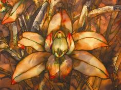 Botanicals on Silk by Suzanne Punch. VERDIGRIS ORCHID  detail                                                gutta serti and French dyes on crepe de Chine                                              multiple over-paintings and discharging of dye