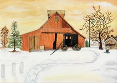 """Our featured art this week is """"Barn in Winter"""" by Lee Trolia at ManorCare Assisted Living of Summer Trace (IN)"""