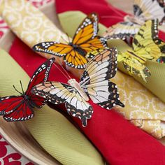 Butterfly napkin rings — made from crafts-store critters, pipe cleaners, and a little hot glue — can morph into fun, fluttery favors (think adjustable bracelets for the kids).