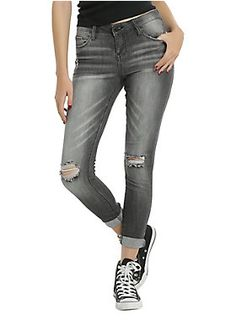 """<div>With destructed denim, you can be casual and cool and still look super fashionable. These grey wash destructed jeans have an amazing skinny fit with just the right amount of stretch to move with you. The low rise jeans are slim through the body and leg, have 5-pocket styling and a button and zipper closure. Perfect with sneakers or booties!</div><div><ul><li style=""""LIST-STYLE-POSITION: outside !important; LIST-STYLE-TYPE: disc !important"""">98% cotton; 2% spandex</li><li…"""