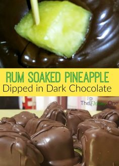 you have heard of pineapple soaked in rum, but how about dipping it in dark chocolate? take your party to the next level with this decadent treat.