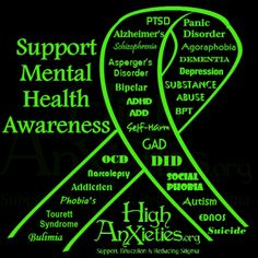 Support of mental health awareness Mental Health Ribbon, Mental Health Day, Mental Health Quotes, Mental Health Issues, Mental Illness Awareness, Mental Health Awareness Month, Bipolar Awareness, Depression Awareness Month, Agoraphobia