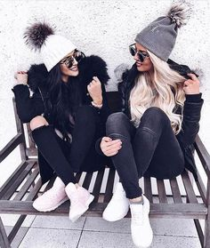 Cute winter ski outfits! Beanies, fleece jackets, and sneakers