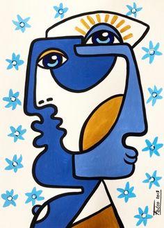 Laurent Folco - Buy Laurent Folco's latest works on Artmajeur ART myosotis Cubist Art, Abstract Face Art, Picasso Art, Picasso Paintings, Mini Canvas Art, Hippie Art, Psychedelic Art, Art Lessons, Pop Art
